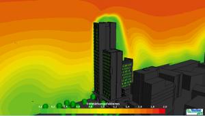 Windsimulation des Hochhauses HoHo in Wien Aspern, eine Windkomfort Referenz von Weatherpark