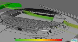 Windsimulation der NV Arena in St. Pölten. Diese ist eine Windkomfort-Referenz der Firma Weatherpark