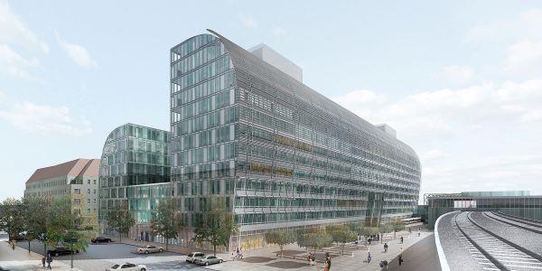 Bild des Gebäudes Rivergate in Wien von der Seite gesehen
