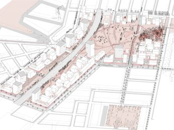 Plan vom neuen Stadtteil Nordbahnhof in Wien