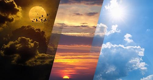 Gegensätze in der Natur: Tag und Nacht, Licht und Dunkelheit, Sonne und Mond. Wettervorhersage Collage. Elemente dieses Bildes von der NASA geliefert
