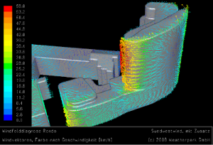 Wind simulation of Zebra Tower, a windcomfort reference of Weatherpark
